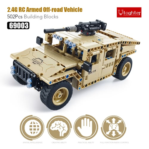 457Pcs Utoghter 69003 2.4G RC Armed Off-road Vehicle Building Blocks Kits Toy Bricks RC Car Model