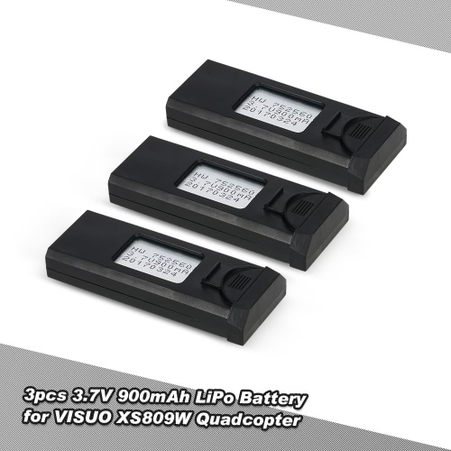 3pcs 3.7V 900mAh Rechargeable LiPo Battery for VISUO XS809W FPV Quadcopter