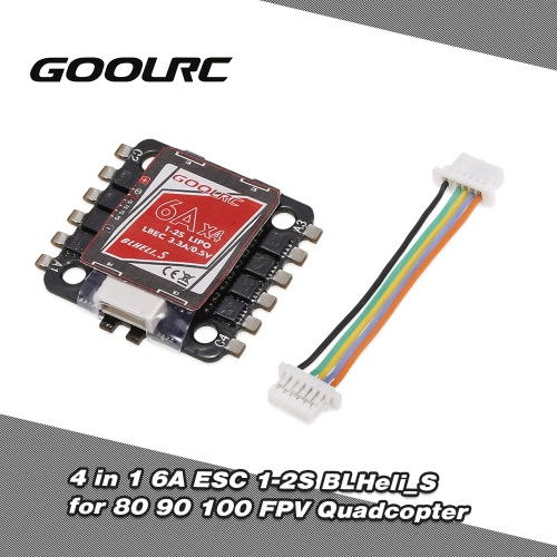 GoolRC 4 in 1 6A ESC 1-2S BLHeli_S Oneshot125 Multishot for 80 90 100 Tiny Micro FPV Racing Quadcopter