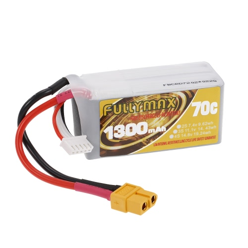 FULLYMAX 4S 14.8V 1300mAh 70C High Rate XT60 Wtyczka LiPo Bateria do QAV210 250 FPV Quadcopter wyścigowy RC Car Boat