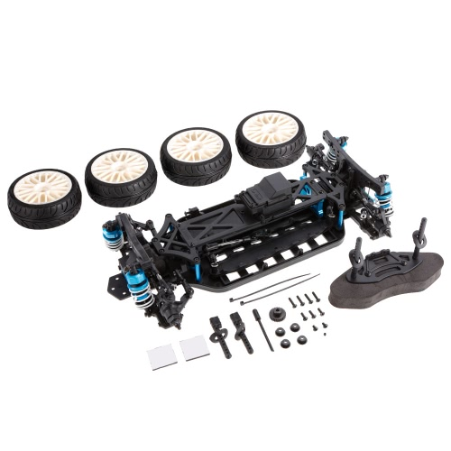 1/10 4WD Electric On-Road Drift Racing Car Frame Kit Chassis Combo & 4pcs Rubber Tyre