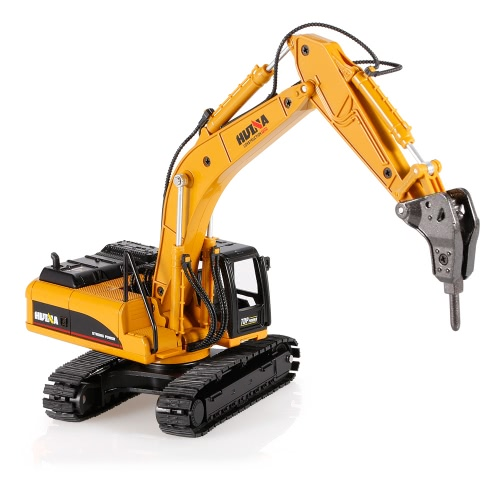 HUI NA TOYS 1711 1/50 Drill Excavator Engineering Vehicle with Alloy Breaking Hammer Kids Toy Housing Decoration Collection