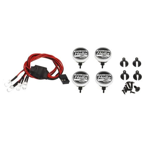 オーストールAX007C 4点RCカー多機能丸型LEDライト(ランプシェード付き)1/10 SCX10 D90 TRX4モデルクローラカー