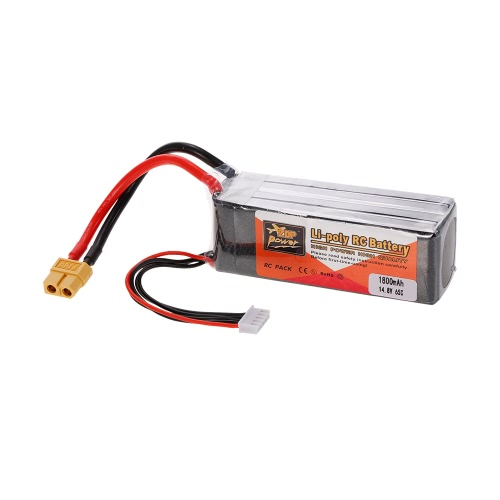 ZOP Power 4S 14.8V 1800mAh 65C XT60 Plug LiPo Battery for 250 280 Racing Drone 450 Helicopter RC Car Boat