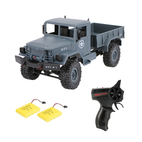 WPL B-1 1/16 2.4G 4WD Off-Road RC Military Truck Rock Crawler Army Car Two Battery