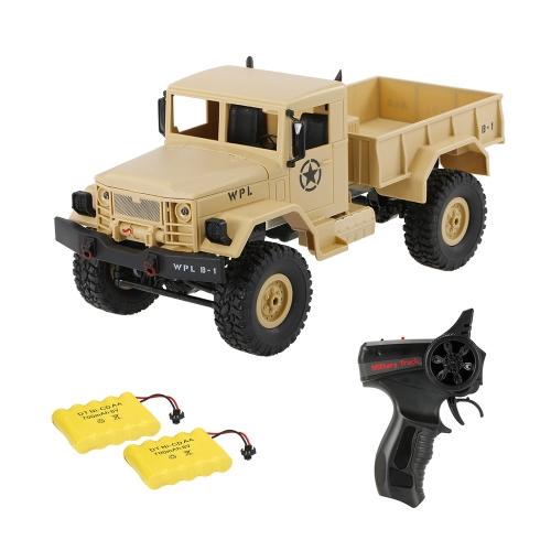 WPL B-1 1/16 2.4G 4WDオフロードRC軍用トラックロッククローラー軍用車2個のバッテリー