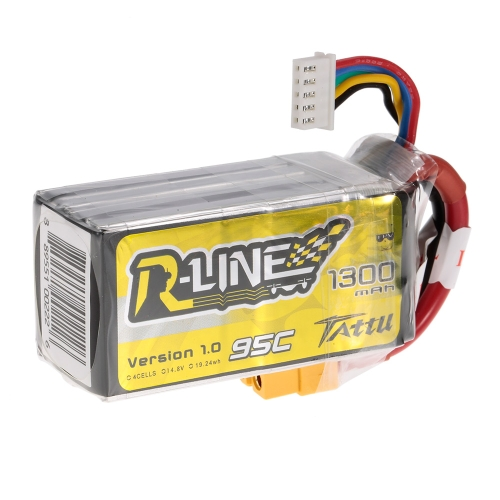 ACE TATTU 1300mAh 14.8V 95C 4S1P 4S Lipo Battery with XT60 Connector Plug for FPV Racing Drone