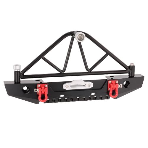 Metall-Heckstoßstange Bull Bar mit LED-Scheinwerfer Winde Mount Sitz für 1/10 AXIAL SCX10 RC Rock Crawler