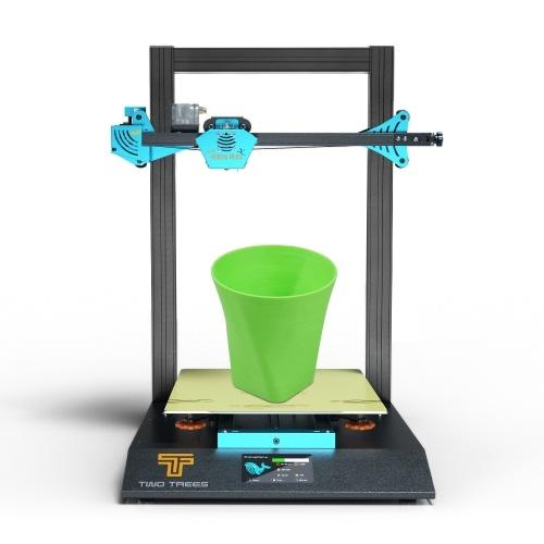 ZWEI BÄUME BLUER PLUS 3D-Drucker 90% vormontiert 300 * 300 * 400 mm Silentdruck mit großem Bauvolumen Dual-Z-Achse mit 4,3-Zoll-Touchscreen-Hot-Bed-Magnet-PEI-Federstahlhalterung Automatische Nivellierung Wiederaufnahme des Druckfilamentdetektors