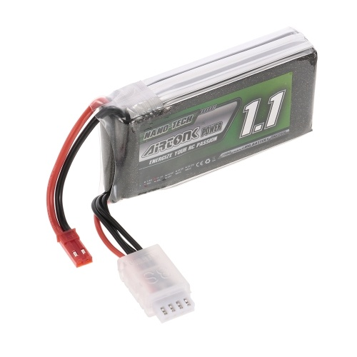 11.1V 1100mAh 30C 3S Rechargeable Li-Po Battery with JST Plug for RC Racing Drone Quadcopter Helicopter Airplane Car Truck