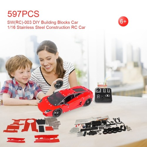 SW(RC)-003 597Pcs DIY Building Blocks Car 1/16 2.4G Stainless Steel Construction RC Car Image