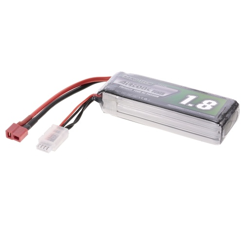 11.1V 1800mAh 60C 3S Rechargeable Li-Po Battery with T Plug for RC Racing Drone Quadcopter Helicopter Airplane Car Truck