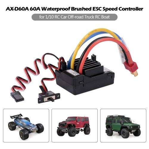 AX-D60A 60A Wasserdichter, gebürsteter ESC-Drehzahlregler für 1/10 RC-Car-Offroad-Truck-RC-Boat-2S-LiPo-6-8S-NiMh-Akku