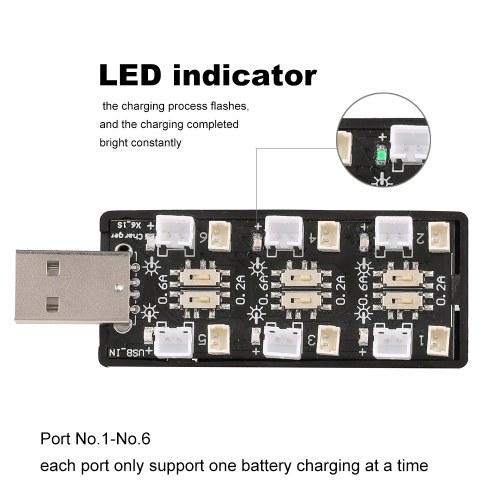 1S LiPo batería USB cargador 1S LiHV cargador 6 canales