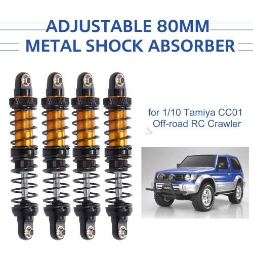 Amortiguador de amortiguador de metal ajustable de 80 mm 4 piezas para 1/10 Tamiya CC01 RC Crawler Off-road Car