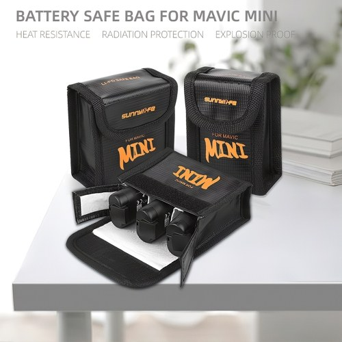 Outdoor Portable LiPo Battery Explosion-proof Safety Storage Bag Compatible with 2PCS DJI Mavic Mini Drone Quadcopter Battery Image