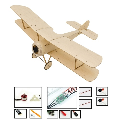 DWH K06 Sopwith Pup RC Airplane Balsa Wood Aircraft 378mm Wingspan Outdoor Flight Toys DIY Assembly Model PNP Version with Motor ESC Servo Propeller Image