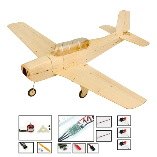 DWH K13 Beechcraft T-34 Mentor RC Airplane Balsa Wood Aircraft 460mm Wingspan Outdoor Flight Toys DIY Assembly Model PNP Version with Motor ESC Servo and Propeller Image
