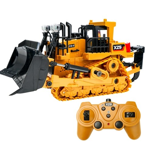 1:24 2.4G 9CH RC Bulldozer RC Tractor Truck Construction Engineering Vehicles with One Key Demonstration LED Light Simulation Sound Function(Plastic Bucket) Image