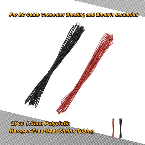 2Pcs 10m 1.5mm Black & Red Polyolefin Halogen-Free Heat Shrink Tubing Tube for RC Cable Connector Bonding and Electric Insulation