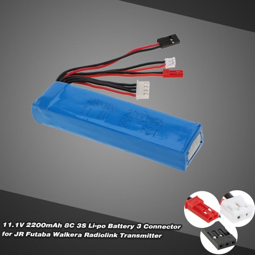 11.1V 2200mAh 8C 3S Li-po Battery 3 Connector for JR Futaba Walkera RadioLink Transmitter