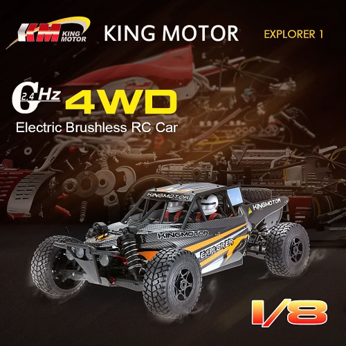 Original KINGMOTOR EXPLORER 1 1/8 RC Car 4WD Electric Brushless High Speed Racing RTR Off-Road Buggy & 2.4G 3CH Transmitter