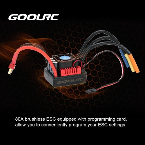 GoolRC S-80A Brushless ESC with 6.1V/3A SBEC & Programming Card for 1/8 RC Car