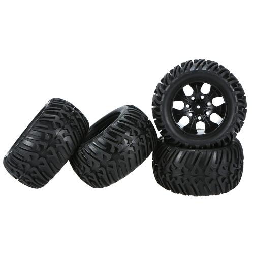 4Pcs Black Wheel Rim and Tire for 1/10 HSP 94111 94188 Monster Truck