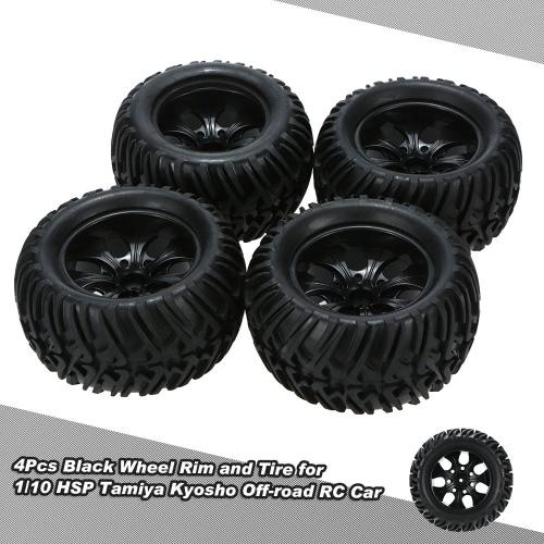 Rimorchio e gomma nera 4Pcs per 1/10 HSP 94111 94188 Monster Truck