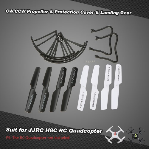 4 pairs CW/CCW Propeller Set & 4 Pcs Protection Cover & 2 Pcs Landing Gear for JJRC JJRC H8C H8D H12C H12W & DFD F181 F182 F183 RC Quadcopter