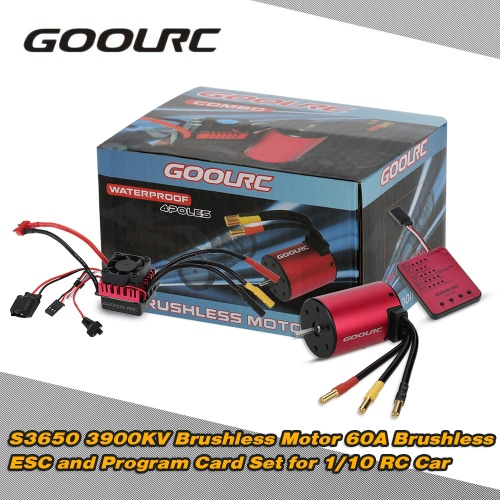 Oryginalny GoolRC S3650 3900KV Sensorless bezszczotkowy 60A Brushless ESC i program kart Combo Set for 1/10 RC Car Truck