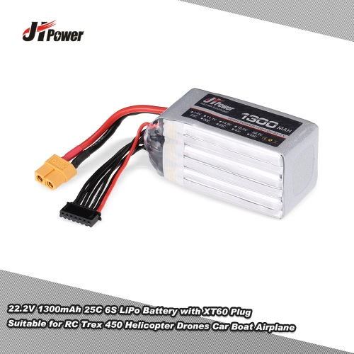 JHpower 22.2V 1300mAh 25C 6S LiPo Battery with XT60 Plug for RC Trex 450 Helicopter Drones Car Boat Airplane