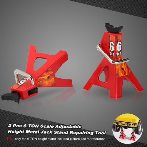 2 Pcs 6 TON Scale Adjustable Height Metal Jack Stand Repairing Tool for 1/10 D90 Axial Wraith SCX10 Rock Crawler RC Car