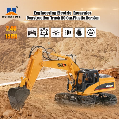 HUI NA TOYS 2.4GHz 15CH Engineering Electric Excavator Construction Truck  Plastic RC Car