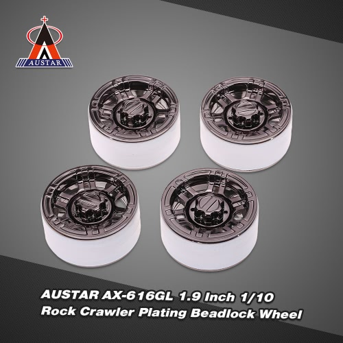 4Pcs AUSTAR AX-616GL 1.9 Inch 1/10 Rock Crawler Plating Beadlock Wheel Rim Hub for D90 SCX10 AXIAL RC4WD TF2 RC Car