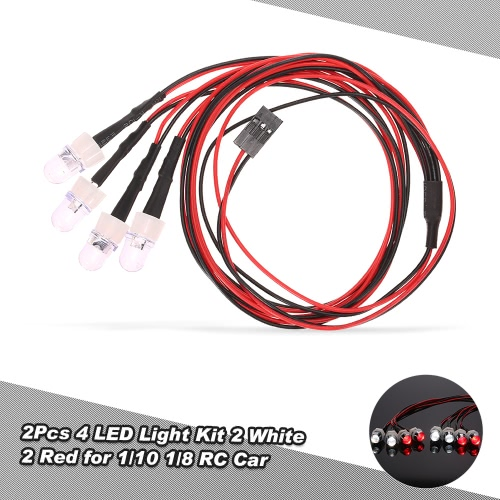 2Pcs 4 luci del LED Kit 2 Bianco 2 Red per 1/10 1/8 Traxxas HSP Redcat RC4WD Tamiya Axial SCX10 D90 HPI RC Auto