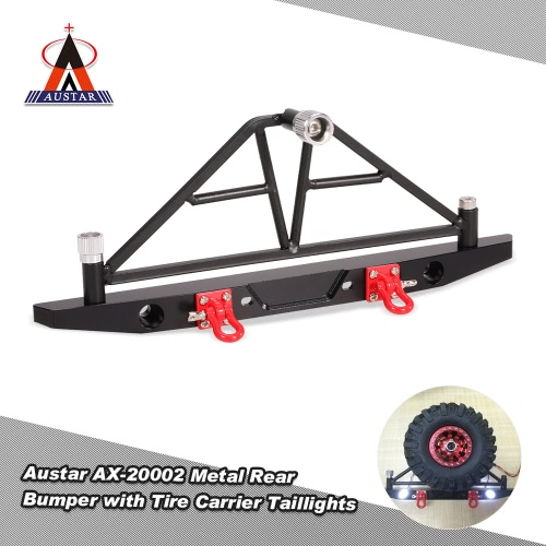 Austar AX-20002 Metal Rear Bumper with Spare Tire Carrier Taillights for 1/10 AXIAL SCX10 RC Rock Crawler