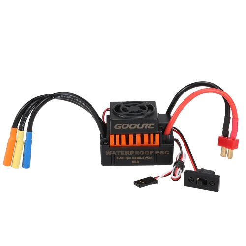 GoolRC Waterproof 60A Brushless ESC Electric Speed Controller with 5.8V/3A BEC for 1/10 RC Car, TOMTOP  - buy with discount