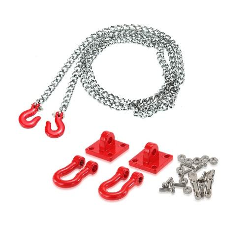 Juego de cadena de remolque y gancho de remolque para 1/10 Traxxas Axial SCX10 Tamiya CC01 RC4WD D90 D110 TF2 RC Rock Crawler