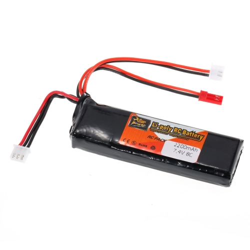 ZOP Power 2S 7.4V 2200mAh 8C JST Plug LiPo Battery for Walkera D7E FrSky X9D Remote Controller Transmitter