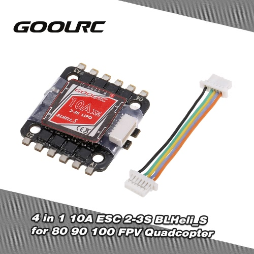 GoolRC 4 in 1 10A ESC 2-3S BLHeli_S Oneshot125 Multishot for 80 90 100 Tiny Micro FPV Racing Quadcopter