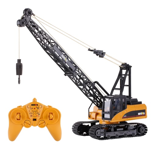 HUI NA TOYS 1572 1/14 2.4Ghz 15CH Remote Control Construction Crane Engineering Truck RC Car Kids Toys Gift