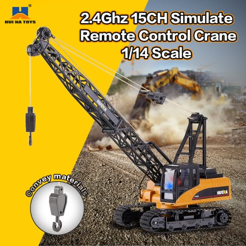 Image of HUINA TOYS 1572 1/14 2.4Ghz 15CH Remote Control Construction Crane Engineering Truck RC Car Kids Toys Gift