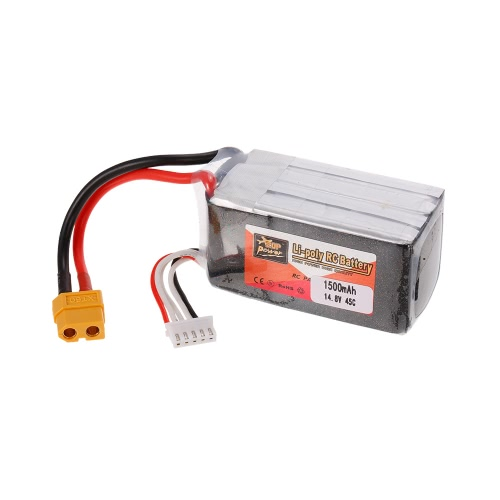ZOP Power 4S 14.8V 1500mAh 45C XT60 Plug LiPo Battery for 210 250 Racing Drone 450 Helicopter RC Car Boat
