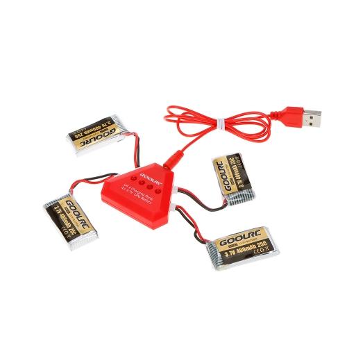 4szt GoolRC 400mAh 3.7V 25C LiPo z 4w1 ładowarką USB do Świętego Kamienia HS170 Hubsan H107C H107D Syma X11 X11C