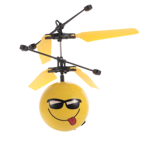 Creativa Emoji esfera levitando Smiley Face Helicóptero Flying Ball Emoticon Drone Control de mano Avión RC juguete regalo de los niños