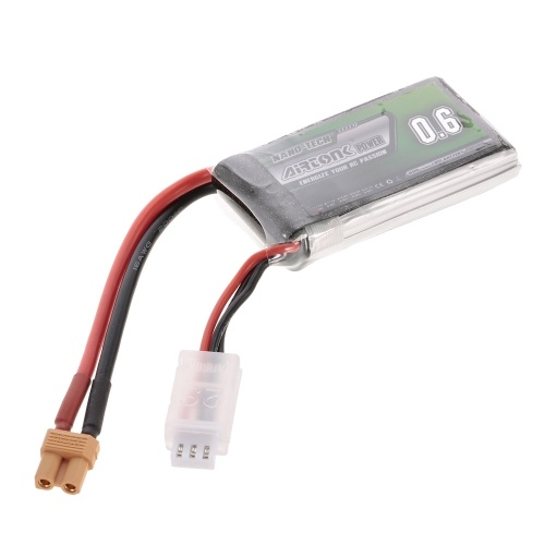 7.4V 600mAh 30C 2S Rechargeable Li-Po Battery with XT30 Plug for RC Racing Drone Quadcopter Helicopter Airplane Car Truck