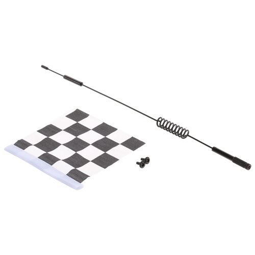 Metal Decorative Antenna with White & Black Flag for 1:10 Traxxas Hsp Redcat RC4WD Tamiya Axial Scx10 D90 Hpi RC Crawler Car