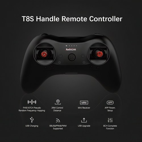 Radiolink T8S FHSS 8CH Mode 2 RC Handle Transmitter with R8EF 2.4GHz Receiver Support S-BUS PPM for RC Drone Fixed-wing RC Boat Car