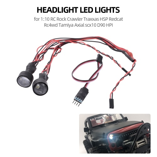 Faros LED Luces para 1:10 RC Rock Crawler Traxxas HSP Redcat Rc4wd Tamiya Axial scx10 D90 HPI